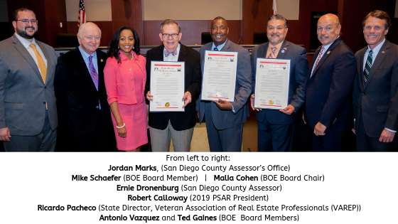(From left to right)_ Jordan Marks, San Diego County Assessor's Office; BOE Board Member Mike Schaefer; BOE Board Chair Malia Cohen; Ernie Dronenburg, San Diego County Assessor; Robert Calloway, 2019 PSAR President